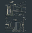 sailing yacht interior sketches vector image vector image