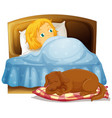 scene with little girl sleeping in bed with pet vector image