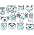 Seamless pattern with cute animal heads endless