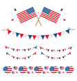 set collection of american usa flags and ribbons vector image vector image