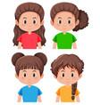 set of brunette girl character vector image