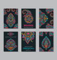 set six cards or flyers with abstract henna vector image vector image