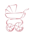 Sketched baby stroller buggy vector image vector image
