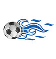 soccer ball on fire with greek flag vector image vector image