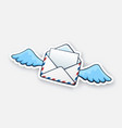 sticker flying opened envelope with wings vector image vector image