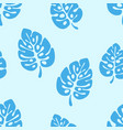 summer seamless pattern - blue leaves monstera vector image