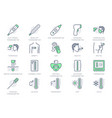 thermometer line icons vector image