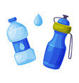 water bottles set sports and plastic recycled vector image