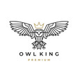 white owl king crown monoline logo icon vector image vector image