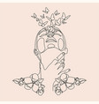 woman face with butterfly one line drawing vector image