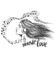 beautiful young girl listening to music vector image vector image