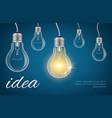 bulbs idea background realistic lamp bulbs vector image vector image