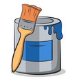 cartoon can and brush vector image