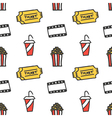 Cinema movie doodles seamless pattern background