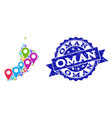 collage map of oman with map markers and grunge vector image