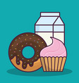 cupcake and donut icon vector image vector image