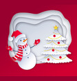 cut paper art style of snowman vector image vector image