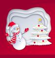cut paper art style snowman vector image