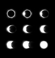 different phases solar and lunar eclipse vector image