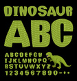 Dinosaur ABC Font of prehistoric reptile Green vector image