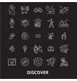 discover editable line icons set on black vector image vector image