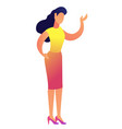 elegant business woman pointing with hand vector image