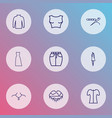 fashionable icons line style set with maxi dress vector image