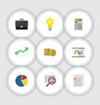 flat icon incoming set of calculate document vector image vector image