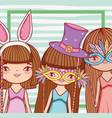 girls wearing fashion party costume decoration vector image