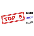 grunge top 5 textured rectangle stamp seals vector image vector image