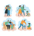 happy family mother father and children smiling vector image vector image
