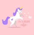 happy white unicorn vector image vector image