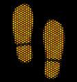 hexagon halftone boot footprints icon vector image vector image