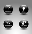 Icons representing the problem solving process vector image