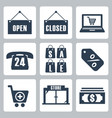 isolated shopping icons set vector image vector image