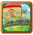 jigsaw puzzle game with kids skating on the road vector image