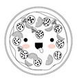 kawaii pizza in monochrome silhouette on white vector image