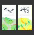 kiwi juice natural lemon fresh banner template vector image