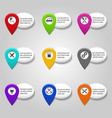 map service pointer set with plane and car vector image vector image