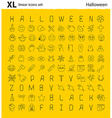 One hundred Halloween thematic linear icons set vector image