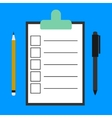Paper clipboard and a pen icon vector image vector image