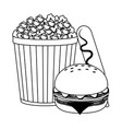 pop corn burger and hot dog in black and white vector image