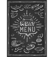 Retro meat menu icons on chalkboard with lamb vector image vector image