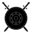 round shield with swords black flat icon vector image vector image