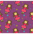 seamless pattern with cute doll in pink dress vector image vector image