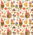 Seamless pattern with cute gnomes vector image vector image
