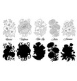 set black and white outline flowers vector image vector image