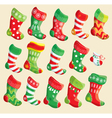 Set of various Christmas stockings vector image vector image