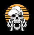 skull in cap holding a spray paint hand vector image