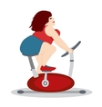 The fat girl is training on a stationary bike vector image vector image